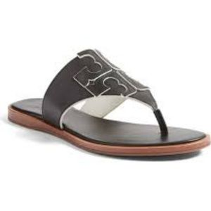 $225~TORY BURCH~Black Leather JAMIE Thong Sandals